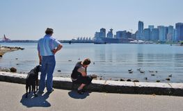 People at Stanley Park Seawall in Vancouver . Canada Royalty Free Stock Photos