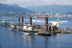 Vancouver Transportation System. VANCOUVER, CA- JULY 05: Downtown Vancouver Transportation System,Float Plane on July 05, 2008 in Vancouver,Canada.Va ncouver royalty free stock photos