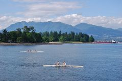 Kayaking Team at Vancouver Waterfront Stock Photos