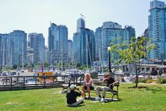 Vancouver Waterfront. VANCOUVER, CA- JUNE 25: Downtown Vancouver Waterfront, and Lifestyle on June 25 , 2011 in Vancouver, CA Vancouver has prominent buildings stock photos