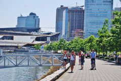 People Walking at Vancouver Waterfront, Canada Royalty Free Stock Photos