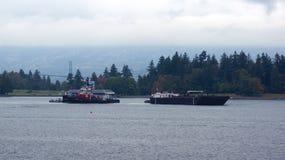 VANCOUVER CA - SEPTEMBER 2014 - bensinstation för hydroplanes i hamnen Royaltyfri Bild