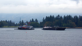 VANCOUVER, CA - septembre 2014 - station service pour des hydroplanes dans le port Image libre de droits