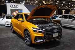 Vancouver, Canadá - marzo de 2019: Audi Q8, tomado en el salón del automóvil 2019 de Vancouver fotos de archivo