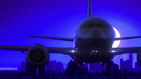 Vancouver Canada Airplane Take Off Moon Night Blue Skyline Travel. Very useful for travel backgrounds stock footage
