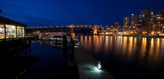 Vancouver Canada alla notte Immagini Stock Libere da Diritti