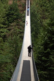 Vancouver, Canada: April 12, 2008: Visitors crossing Capilano br Royalty Free Stock Photo