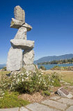 VANCOUVER, CANADA - AUGUST 24, 2016: Inukshuk landmark on 24 Aug Royalty Free Stock Image