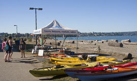 VANCOUVER, CANADA - AUGUST 24, 2016: Rental canoes at the beach royalty free stock photography