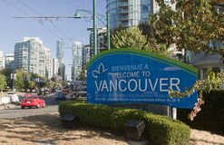 VANCOUVER, CANADA - AUGUST 24, 2016: Welcome road sign at the en Royalty Free Stock Images