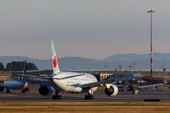 Vancouver, Canada - Circa 2018: Air Canada Boeing 787 bij YVR binnen Stock Foto's