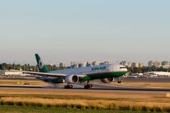Vancouver, Canada - Circa 2018: Eva Air Boeing 777 bij YVR Inter Royalty-vrije Stock Fotografie