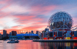 Vancouver, Canada - Circa 2017: Science World and BC Place Stadi. Um at Sunset royalty free stock photography