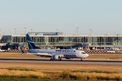 Vancouver, Canada - Circa 2018: Westjet Boeing 737 in Vancouver Stock Foto's