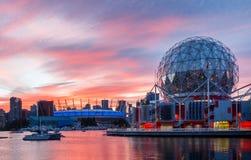 Vancouver, Canada - Circa 2017: Wetenschapswereld en BC Plaats Stadi Royalty-vrije Stock Fotografie