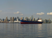 Vancouver Canada cityscape. With the ship Stock Photography