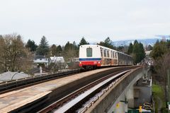Vancouver, CANADA - December,2017: Expo Line Skytrain from downt. On to King George and Production Way - University, Vancouver, British Columbia Stock Image