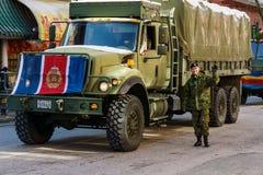 VANCOUVER, CANADA - Februari 18, 2018: Canadese militairen in de Chinatown van Vancouver, tijdens Chinese Nieuwjaarparade Royalty-vrije Stock Foto's