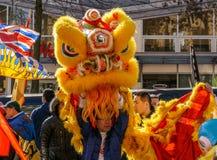 VANCOUVER, CANADA - Februari 18, 2014: De mensen in Geel Lion Costume bij Chinees Nieuwjaar paraderen in de Chinatown van Vancouv Royalty-vrije Stock Foto's