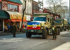 VANCOUVER, CANADA - February 18, 2018: Canadian soldiers in Vancouver Chinatown, during Chinese New Year parade. VANCOUVER, CANADA - February 18, 2018: Canadian Royalty Free Stock Photos