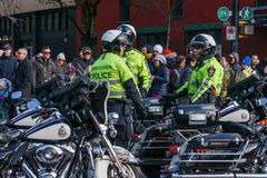 VANCOUVER, CANADA - February 18, 2018: Vancouver Police Department Motocycle officers at Chinese New Year parade. Royalty Free Stock Images