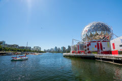 Vancouver, Canada - June 20, 2017: The world of science and olympic village at Flase creek on a sunny afternoon royalty free stock photo