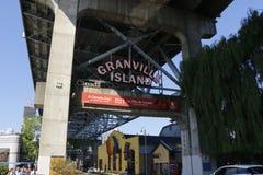 VANCOUVER, CANADA - Juni 17 2018: Granville Market-teken De markt is een beroemde toeristische attractie stock foto's