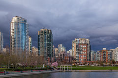 Vancouver, Canada - March 23, 2016. Beautiful view in downtown of Vancouver, Canada, towers and buildings Stock Photo