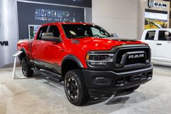 Vancouver, Canada - March 2019 : Dodge Ram, taken at 2019 Vancouver Auto Show stock photography