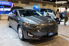 Vancouver, Canada - March 2019 : Ford Fusion, taken at 2019 Vancouver Auto Show stock photography