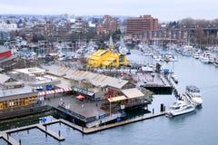 Vancouver, CANADA - March, 2018 : Grandville Island Public Marke. T , View from Granville Street Bridge Stock Photos