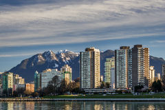Vancouver, Canada - March 18, 2016. Marina. Beautiful view of Vancouver, Canada with the marina, the science museum and towers Stock Photo