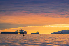 Vancouver Canada,May 2017.golden hour sunset cloud sky with ocean views. Stock Photos