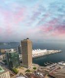 Vancouver canada miejsce Widok z lotu ptaka przy zmierzchem Obrazy Stock