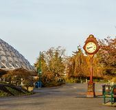 VANCOUVER, CANADA - November 20, 2018: Big Lions Clock in Queen Elizabeth Park early morning. Blue, day, foliage, garden, nature, retro, sky, time, travel royalty free stock photo