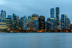 Vancouver, Canada, October 12 2016. Night lights on downtown Van Royalty Free Stock Image
