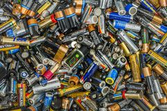 Vancouver, Canada - October 2, 2004: Pile of dead used single use disposable batteries. stock photography