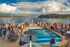 Vancouver, Canada - September 12, 2018: Cruise ship passengers on The Volendam. stock photos