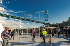 Vancouver, Canada - September 12, 2018: Lions Gate Bridge from cruise ship view. stock image