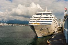 Vancouver, Canada - September 12, 2018: Seven Seas Mariner cruise ship, in port. Seven Seas Mariner, Regent Seven Seas Cruises ship. Docked in Vancouver royalty free stock photography
