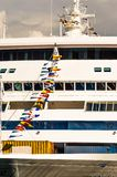 Vancouver, Canada - September 12, 2018: Seven Seas Mariner dressed in flags. Seven Seas Mariner, Regent Seven Seas Cruises ship. Docked in Vancouver, British stock images