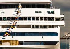 Vancouver, Canada - September 12, 2018: Seven Seas Mariner dressed in flags. Seven Seas Mariner, Regent Seven Seas Cruises ship. Docked in Vancouver, British stock photo