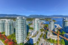 Vancouver, Canada Skyline. Aerial view of the modern city skyline of Vancouver, British Columbia, Canada during a sunny day royalty free stock images