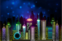 Vancouver Canada skyline silhouette. Vector illustration in night Stock Photos