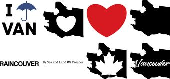 Vancouver canada vector map and the maple leaf symbol stock illustration
