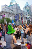 Vancouver Canucks fan. Vancouver Canucks hockey fans dancing on the street Royalty Free Stock Images