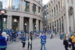 Vancouver public library with Canucks hockey fans Royalty Free Stock Image