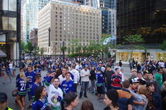 Vancouver Canucks hockey fans in downtown Vancouver Royalty Free Stock Image