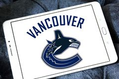 Vancouver Canucks ice hockey team logo. Logo of Vancouver Canucks ice hockey team on samsung tablet. The Vancouver Canucks are a professional ice hockey team Stock Photos