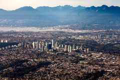 Vancouver City Lower Mainland Fraser Valley aerial Royalty Free Stock Photo
